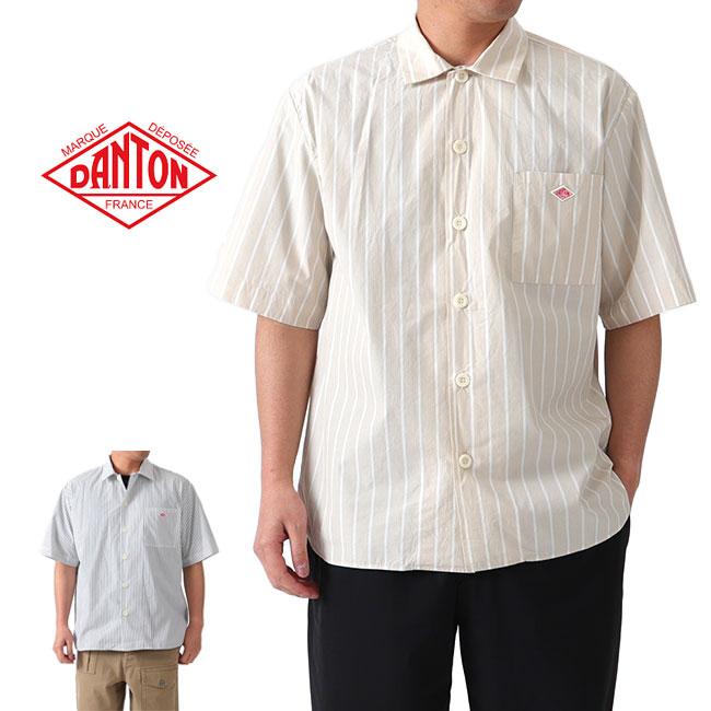 ▼クーポン対象外▼ DANTON ダントン コットンポプリン ワイド ストライプ ワークシャツ JD-3609 MTP 半袖シャツ (メンズ)