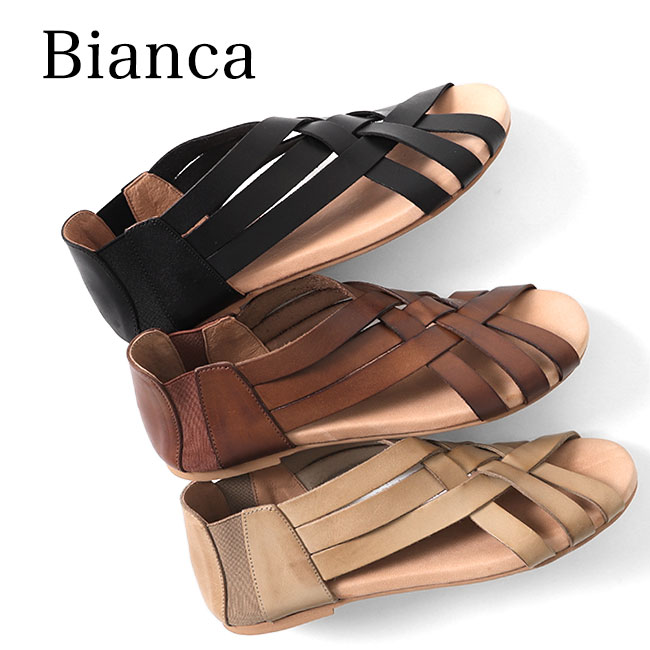 Bianca ビアンカ 編み込み レザーサンダル 1894 (レディース)