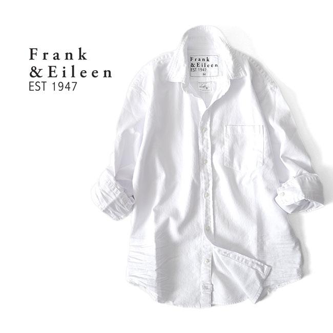 FrankEileen 商い フランクアイリーン LUKE WCD ルーク バーゲンセール ストーンウォッシュド ホワイト デニムシャツ 長袖シャツ ダメージ 9920700017 白 メンズ