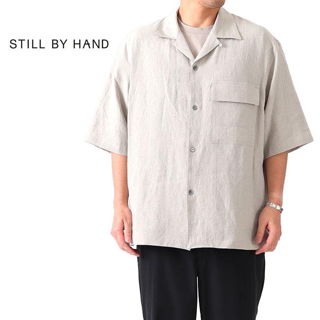 Still By Hand スティルバイハンド リラックス リネン オープンカラーシャツ SH03202 半袖シャツ ベージュ (メンズ)