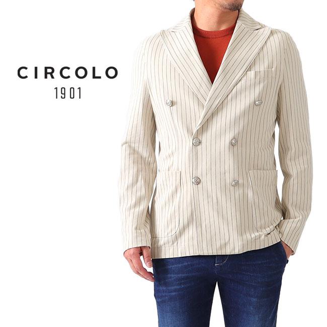 CIRCOLO 1901 チルコロ1901 ピンストライプ 6B メタルボタン ストレッチ ジャージー ダブルブレストジャケット 8CU179903 (メンズ)