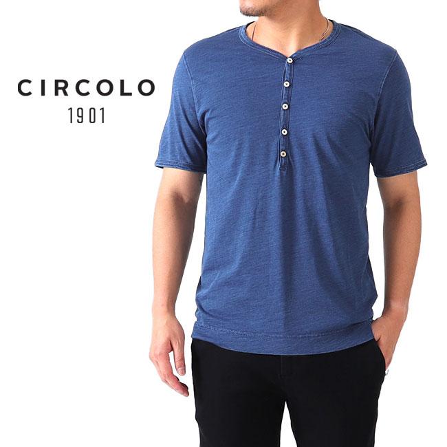 CIRCOLO 1901 チルコロ1901 インディゴ ヘンリーネックTシャツ 8CU189028 半袖Tシャツ (メンズ)