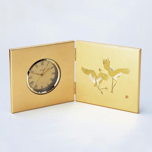 【金箔屋さくだ】屏風時計(大)「よろこび」お祝い 海外の方への贈り物にも人気 金沢箔工芸品 ギフト包装 のし 対応 立て時計 インテリアに