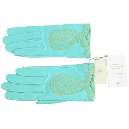 エルメス HERMES グローブ 手袋 ラムスキン ブルー系 7 1/2(20.5cm)【中古】