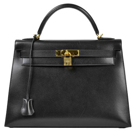 エルメス HERMES ケリー 32 ボックスカーフ ブラック 外縫い ゴールド金具 □D刻印 ハンドバッグ【中古】