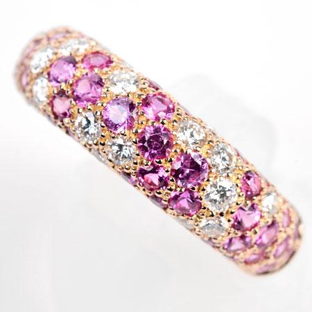 カルティエ Cartier ミミスター パヴェ リング #52 K18PG ダイヤモンド×ピンクサファイヤ 新品仕上げ【中古】