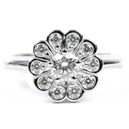 ティファニー Tiffany&Co ダイヤモンド エンチャント フラワー リング #7.5 Pt950 5.1g 新品仕上げ【中古】