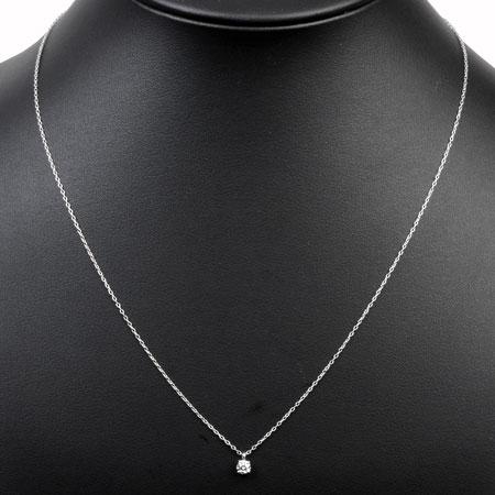 ティファニー Tiffany&Co ソリティア ダイヤモンド 0.17ct スタッド ネックレス ペンダント PT950 48cm 新品仕上げ【中古】