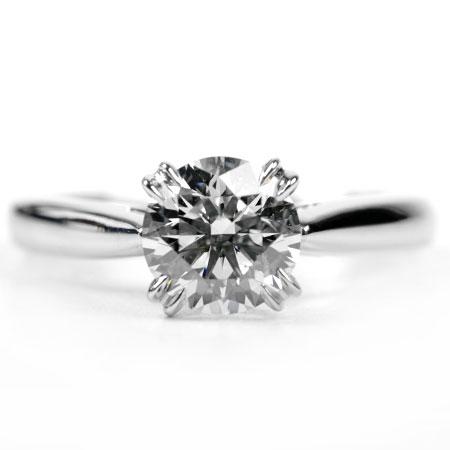 ハリーウィンストン HARRY WINSTON ダイヤモンド 0.70ct (F/VS2/3EX) ソリティア リング #4 Pt950 3.7g 鑑定書付属 代引きでのカード払い不可【中古】