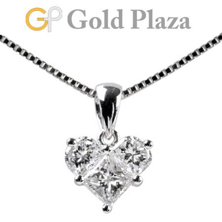 ダイヤモンド 0.72ct ハート モチーフ ペンダント ネックレス K18WG 2.8g ダイヤ 3P 40cm ノーブランド【中古】