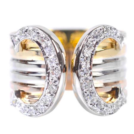 カルティエ Cartier 2C ダイヤモンド リング K18YG/WG/PG 4.7g #49 C2 Cドゥ【中古】