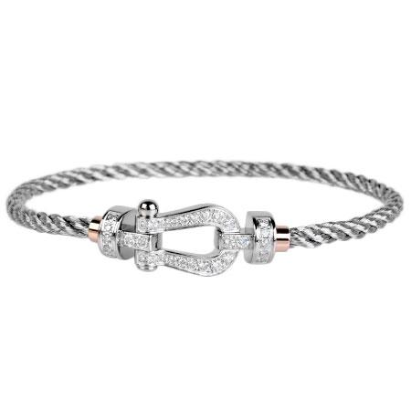 フレッド FRED フォース10 ブレスレット フル パヴェ ダイヤモンド MM K18WG スティールケーブル サイズ:14 【中古】