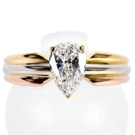 【先着!!クーポンで最大3万円オフ!12/1-3】カルティエ Cartier トリニティ ソリテール ダイヤモンド 0.61ct(F/VVS2/ペアシェイプ) リング K18YG/WG/PG 4.8g #9【中古】