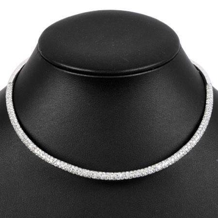 ステファンハフナー STEFAN HAFNER パヴェ ダイヤモンド オメガ ネックレス 36cm K18WG 52.9g【中古】