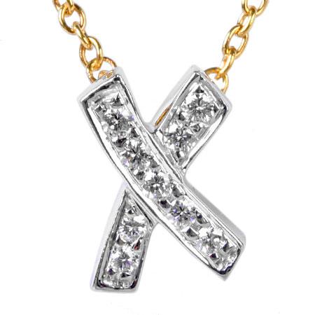 ティファニー TIFFANY&Co. キス 9P ダイヤモンド ペンダント K18YG/Pt950 ネックレス 40cm パロマピカソ【中古】