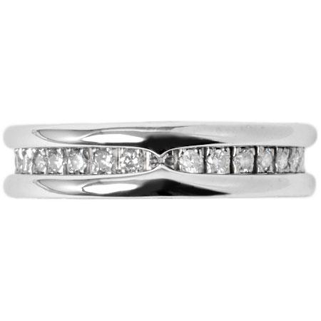 ブルガリ BVLGARI ビーゼロワン パヴェ ダイヤモンド リング XS K18WG 9.0g #50 AN850656 1バンド【中古】