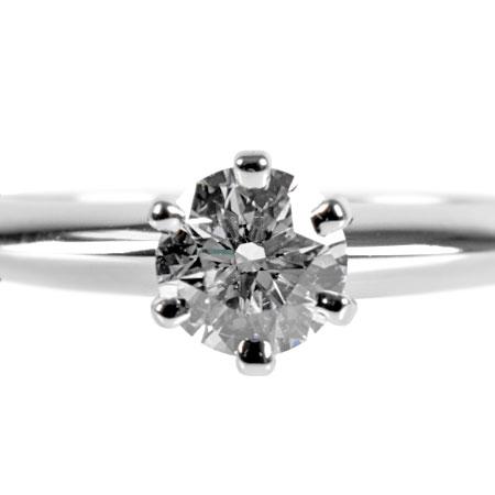 ティファニー TIFFANY&Co. ソリティア リング ダイヤモンド 0.26ct (D/VS1/EX) #7.5 Pt950 3.4g【中古】