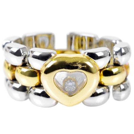 ショパール Chopard ハッピーダイヤ 1P ダイヤモンド リング K18YG/SS 12.0g #9 82/8401-20【中古】