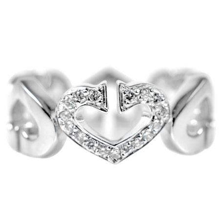 カルティエ Cartier C ハート 1P ダイヤモンド リング K18WG 6.8g #50 B4041500【中古】