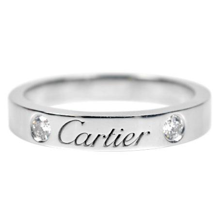 カルティエ Cartier C ドゥ ダイヤモンド 2P リング #48 Pt950 4.5g B4077800【中古】