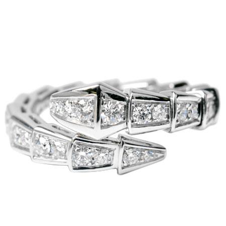 ブルガリ BVLGARI セルペンティ Sサイズ フル パヴェ ダイヤモンド リング K18WG エタニティ 354707【中古】