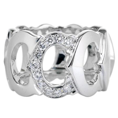 カルティエ Cartier C ドゥ 11P ダイヤモンド リング K18WG 12.1g #50 N4123300【中古】