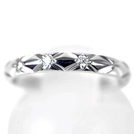 シャネル CHANEL マトラッセ マリッジ リング スモールモデル 3P ダイヤモンド #47 Pt950 2.9g J2821【中古】