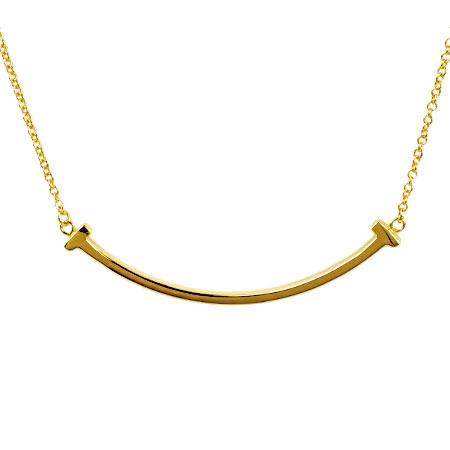 ティファニー Tiffany&Co. Tスマイル ミニ ペンダント ネックレス 41cm K18YG 2.9g【中古】