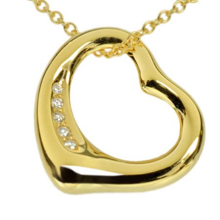 ティファニー TIFFANY&Co. オープン ハート 5P ダイヤモンド ペンダント ネックレス 40.5cm K18YG 4.4g【中古】