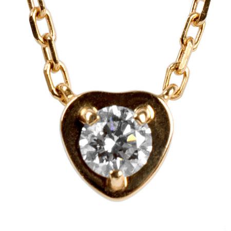 カルティエ Cartier ディアマン レジェ ドゥ ハート ペンダント 1P ダイヤモンド K18PG ネックレス 40cm【中古】