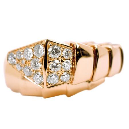 ブルガリ BVLGARI セルペンティ リング パヴェ 15P ダイヤモンド サイズL K18RG 345218【中古】