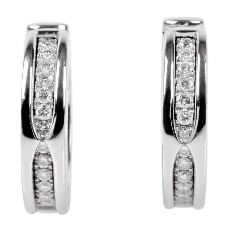 ブルガリ BVLGARI ビーゼロワン パヴェ 26P ダイヤモンド イヤリング K18WG 15.1g フープ ピアス【中古】