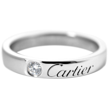 カルティエ Cartier C ドゥ 1P ダイヤモンド ウェディング リング #47 Pt950 B4051300【中古】