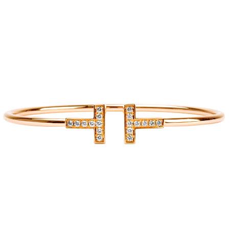ティファニー Tiffany&Co. T ワイヤー ダイヤモンド 18P ブレスレット Mサイズ K18PG ローズゴールド 8.0g【中古】