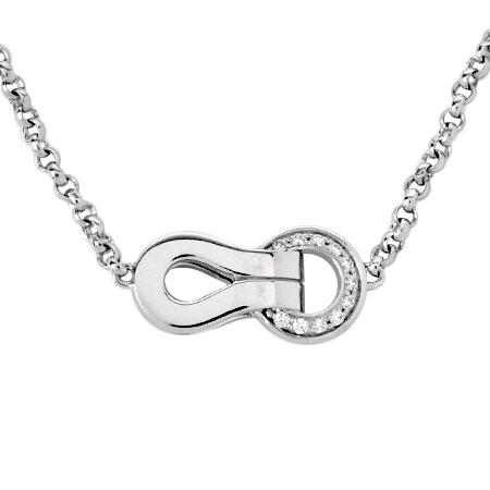 ダイヤモンド 11P ネックレス K18WG Cartier アグラフ 41cm【中古】 ペンダント カルティエ
