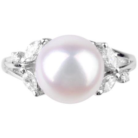 ミキモト MIKIMOTO パール 9.0mm ダイヤモンド リング Pt950 #12 あこや真珠【中古】