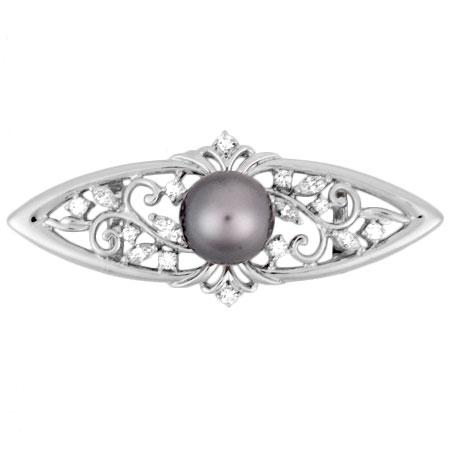 11.4mm ミキモト ブラックパール MIKIMOTO ダイヤモンド 0.79ct【中古】 K18WG 帯留め
