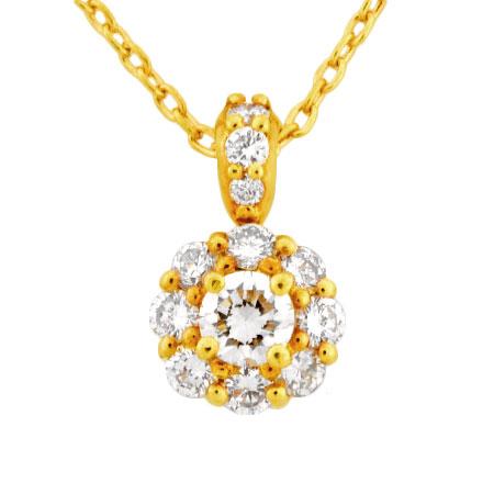 セイコージュエリー【中古】 SEIKO ダイヤモンド ネックレス K18YG フラワーモチーフ 0.51ct