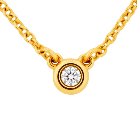 K18YG Tiffany&Co. ネックレス【中古】 ペンダント エルサ バイザヤード ペレッティ 41cm ダイヤモンド ティファニー