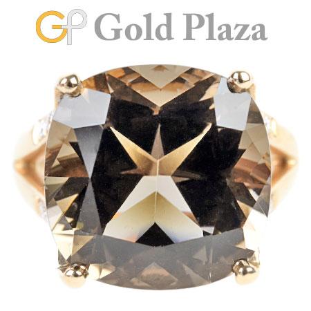 モーブッサン MAUBOUSSIN スモーキークォーツ ダイヤモンド リング K18PG(ピンクゴールド) 6.6g レディース 日本サイズ8号【中古】