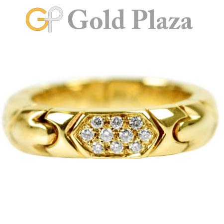 ブルガリ BVLGARI アルベアーレ ダイヤモンド 10P リング パヴェ K18YG 7.9g 9号~ 新品仕上げ済【中古】