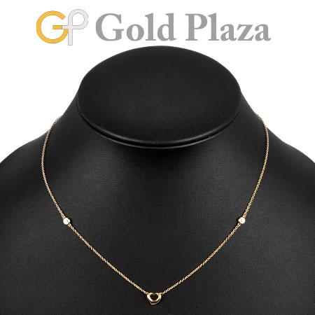 ティファニー Tiffany&Co. オープン ハート 2P ダイヤモンド 0.06ct ネックレス K18PG 2.7g 41cm ローズゴールド エルサ・ペレッティ【中古】