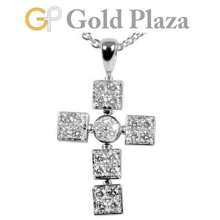 ブルガリ BVLGARI ルチア ラテン クロス ダイヤモンド ペンダント K18WG 12.3g 43cm ネックレス【中古】