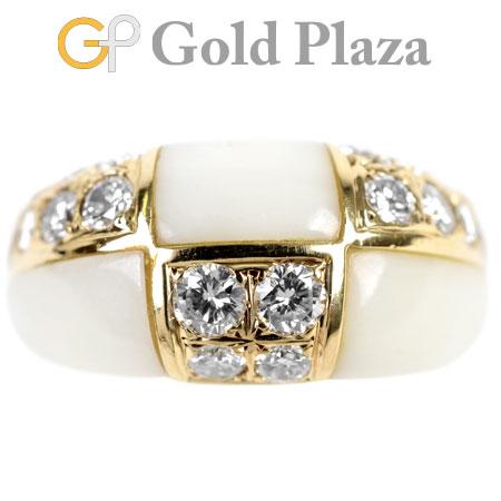 ヴァンクリーフ & アーペル Van Cleef & Arpels パヴェ ダイヤモンド 0.95ct ホワイト コーラル リング K18YG 6.4g #10【中古】
