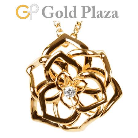 ピアジェ PIAGET ローズ ペンダント 1P ダイヤモンド ネックレス K18PG 9.6g 【中古】