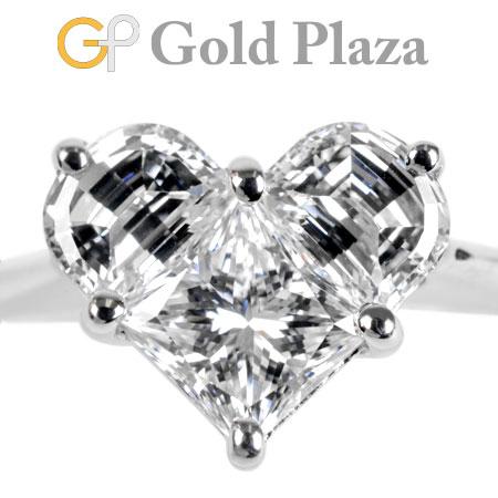 ダイヤモンド 0.87ct ハートモチーフ リング K18WG 2.2g 日本サイズ:7.5号 ノーブランド レディース 新品仕上げ済【中古】