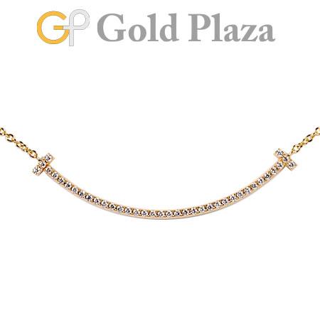 【訳あり】 ティファニー Tiffany&Co Tスマイル ダイヤモンド ミニ ネックレス 41cm K18PG ローズゴールド 2.1g ペンダント【中古】
