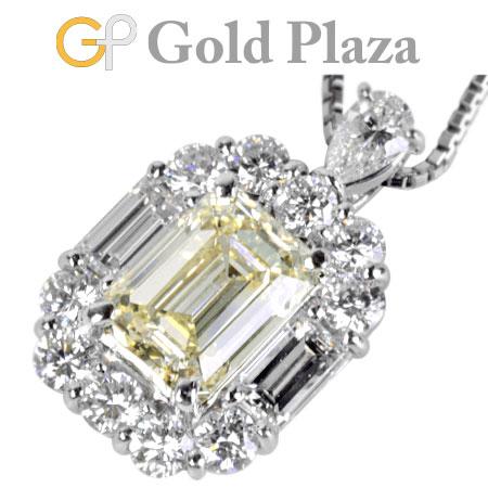 ダイヤモンド 2.193ct ペンダントトップ ネックレス Pt900/Pt850 エメラルドカット 8.2g ノーブランド【中古】