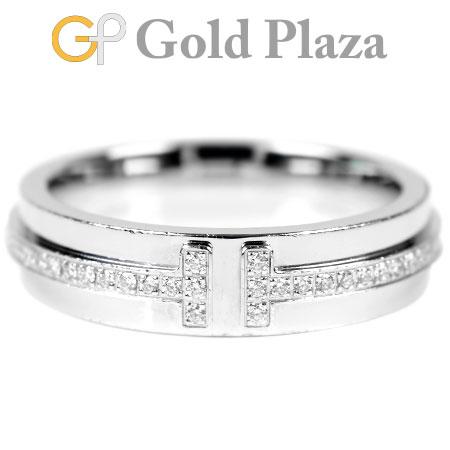 ティファニー TIFFANY&Co. ツー ナローリング Tリング ダイヤモンド ティファニーT K18WG(ホワイトゴールド) 5.7g サイズ:7.5号レディース エタニティ 【中古】