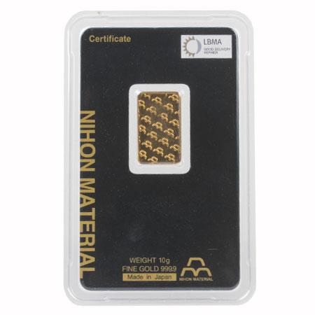 日本マテリアル NIHON MATERIAL インゴット 純金 10g グッド・デリバリー・バー ゴールド